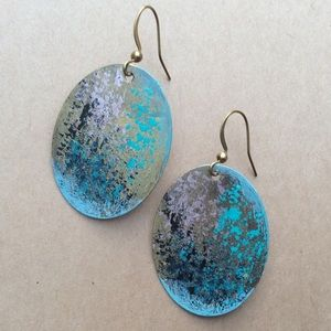New hand painted patina unique earrings